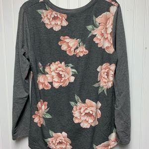 Apt. 9 Flower Print Gray Light Weight Sweatshirt